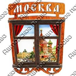 Магнитик с подвижными деталями Вид в окно 2 с символикой Вашего города