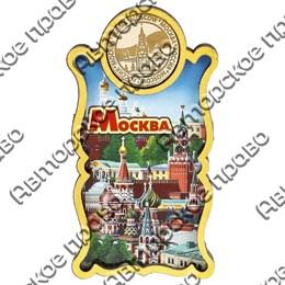 Магнитик Этикетка с зеркальной фурнитурой и символикой Вашего города