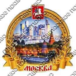 Магнитик 2-хслойный Рамка круглая с символикой Вашего города