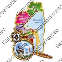 Магнитик 2-хслойный Карта с лупой границы территории с символикой Вашего города вид 2