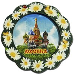 Магнит 2-хслойный Тарелка зеленая с символикой Вашего города