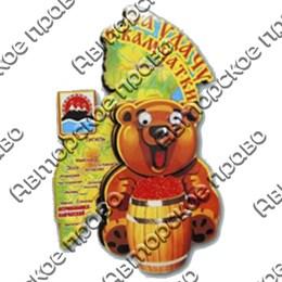 Магнит 2-хслойный Медведь с подвижными глазками и картой с символикой Вашего города
