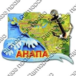 Магнитик 2-хслойный Карта с зеркальной фурнитурой с символикой Вашего города
