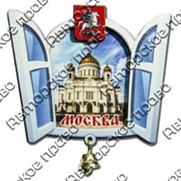 Магнит 2-хслойный Окошко с колокольчиком с символикой Вашего города