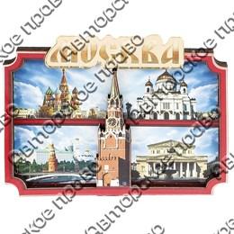Магнитик 2-хслойный Красный коллаж с зеркальной надписью с символикой Вашего города