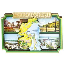 Магнитики 2-хслойные Зеленый коллаж с зеркальной надписью с символикой Вашего города