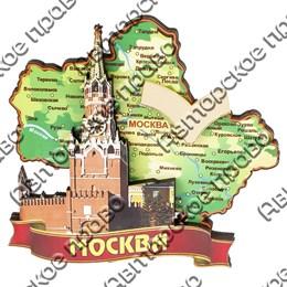 Магнитик 2-хслойный Карта с зеркальной фурнитурой вид 2 с символикой Вашего города