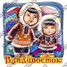 Магнитик 2-хслойный Дети северяне с символикой Вашего города