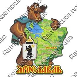 Магнит 2-хслойный Карта Вашего региона, края, области с медведем
