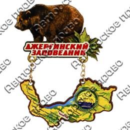 """Магнит качели №3 """"Медведь с картой Вашего региона, области, края"""""""