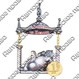 """Магнит качели №35 """"Кот с логотипом Вашего города"""""""