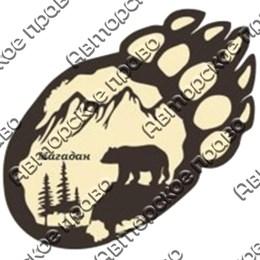 """Магнит с гравировкой """"Лапа медведя"""" №1 с символикой Вашего города"""