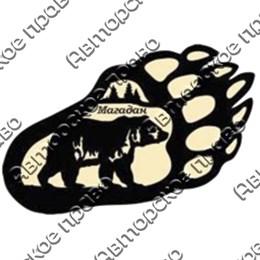 """Магнит с гравировкой """"Лапа медведя"""" №2 с символикой Вашего города"""