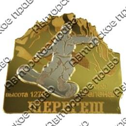 """Магнит зеркальный комбинированный """"Сноубордист на склоне"""" с символикой Вашего города"""