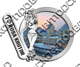 Магнит зеркальный с картинкой Девушка со сноубордом и видами Вашего горнолыжного курорта