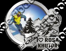 Магнит зеркальный с картинкой Лыжник с видами Вашего горнолыжного курорта