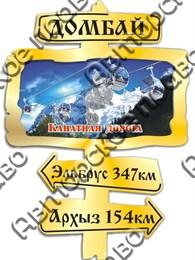 Магнит зеркальный с картинкой Указатель с видами Вашего горнолыжного курорта