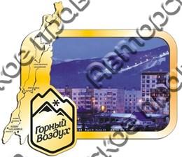 Магнит зеркальный с картинкой Карта с логотипом  Вашего горнолыжного курорта