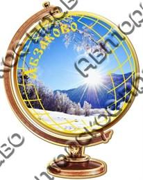 Магнит 2-х слойный Глобус с видами Вашего горнолыжного курорта
