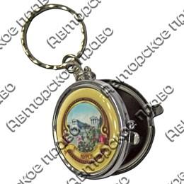 Брелок-зеркальце круглый со смолой и символикой Вашего города