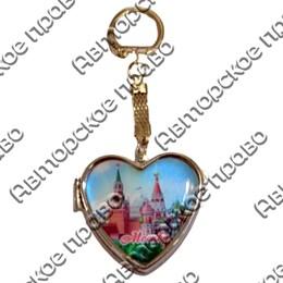 Брелок-зеркальце сердце со смолой с достопримечательностями Вашего города