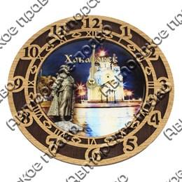 Часы 2-хслойные со смолой и достопримечательностями Вашего города