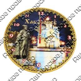 Часы 1-слойные вид 1 с достопримечательностями Вашего города
