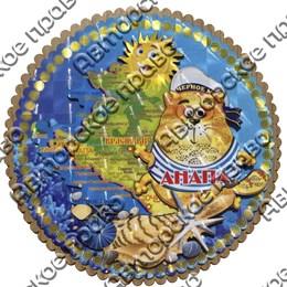 Панно круглое 4-хслойное цветное Карта с символами Вашего города