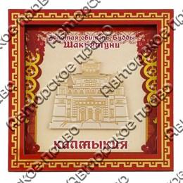 Панно квадратное 10х10 см красное с зеркальной деталью вид 2 с символами Вашего города