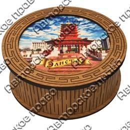 Шкатулка круглая №1 с ламинированным покрытием с достопримечательностями Вашего города