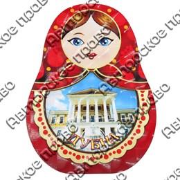 Шкатулка фигурная Матрешка вид 1 с покрытием оракал с символикой Вашего города