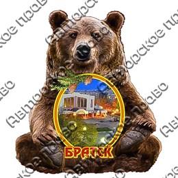 Шкатулка фигурная Медведь с покрытием оракал с видами Вашего города