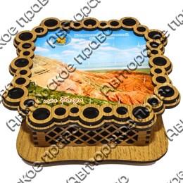 Шкатулка квадратная резная вид 2 с видами, достопримечательностями или символикой вашего города