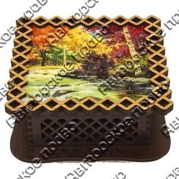 Шкатулка квадратная резная вид 5 Осенняя природа