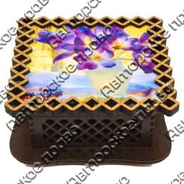 Шкатулка квадратная резная вид 5 Цветы 3