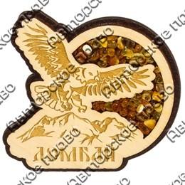Магнит с янтарем вид 1 Орел с названием Вашего горнолыжного курорта