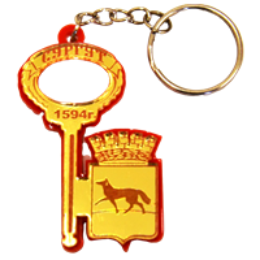 Брелок зеркальный на цветной подложке Ключ с гербом Вашего города