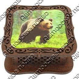 Шкатулка квадратная резная со смолой Медведи вид 4