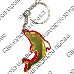 Брелок зеркальный на цветной подложке Дельфин Вид 1