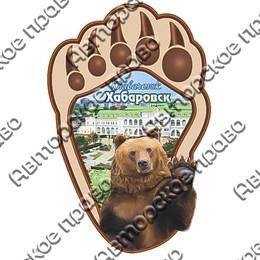 Магнитик 2-хслойный Лапа медведя вид 1 с видами или достопримечательностями Вашего города
