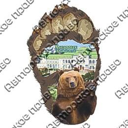 Магнитик 2-хслойный Лапа медведя вид 2 с видами или достопримечательностями Вашего города