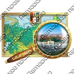 Магнитик 2-хслойный прямоугольная карта с лупой с видами или достопримечательностями Вашего города