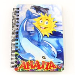 Блокнот цветной покрытие оракал Дельфин с солнышком и символикой Вашего города 50 листов
