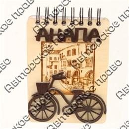 Магнит - блокнот деревянный с гравировкой и накладными деталями Велосипед с символикой Вашего города 50 листов
