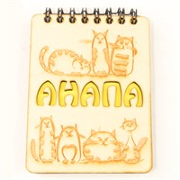Магнит - блокнот деревянный с гравировкой Коты с символикой Вашего города 50 листов