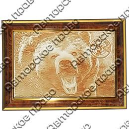 Картина 30х20см с гравировкой Медведь вид 3 с символикой Вашего города