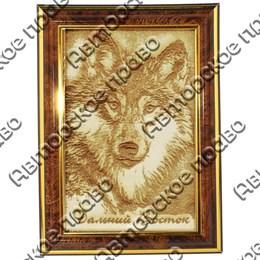 Картина 10х15см с гравировкой Волк вид 1 с символикой Вашего города