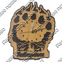 Часы 2-хслойные дерево Лапа с символикой Вашего города