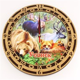 Часы круглые 15 см 2-хслойные вид 2 с видами, достопримечательностями или символикой Вашего города