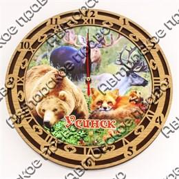 Часы круглые 25 см 2-хслойные вид 2 с видами, достопримечательностями или символикой Вашего города